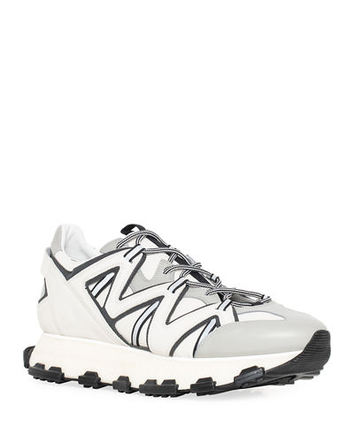 Men's Running Sneakers in Leather and Reflective Colorblock