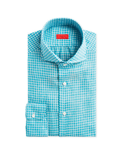 Gingham Check Linen Dress Shirt