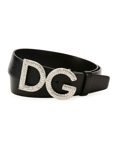 Men's Leather Belt w/ Crystal Logo Buckle