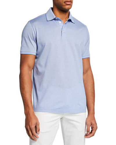 Men's Melville Pique Oxford Polo Shirt w/ Striped Collar Detail