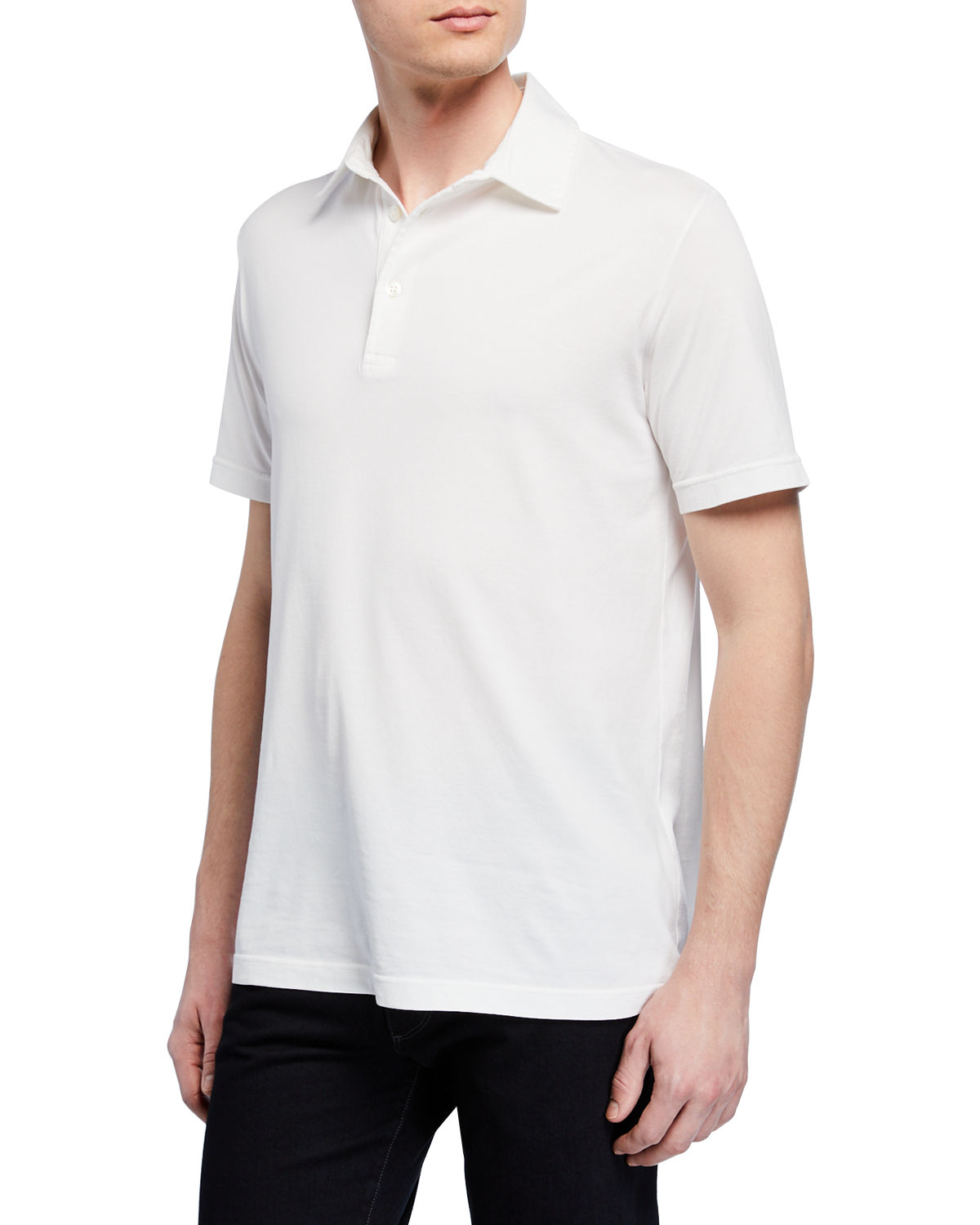 Men's Stone-Dyed Jersey Polo Shirt