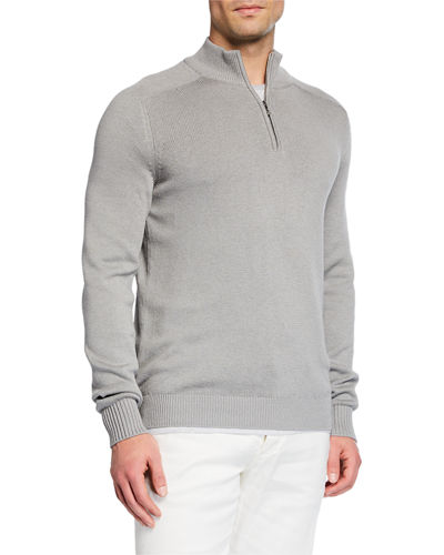 Men's Silk-Blend Quarter-Zip Sweater