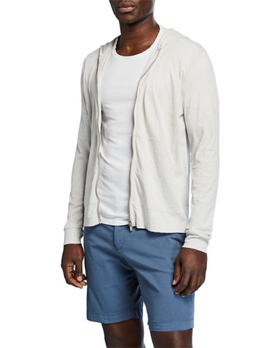 Men's Cosmos Layer Zip-Front Slub-Cotton Hoodie