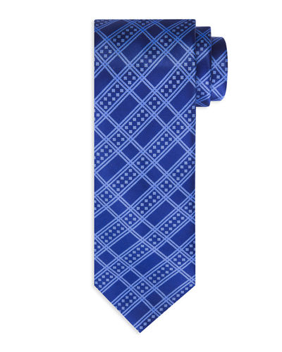 Dotted Plaid-Print Silk Tie
