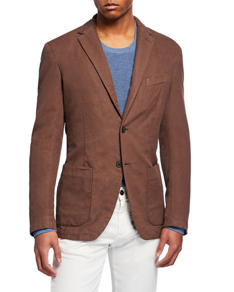 Neiman Marcus Men's Washed Silk-Blend Two-Button Jacket