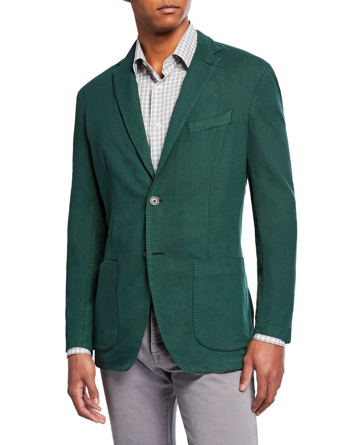 Neiman Marcus Jackets MEN'S WASHED SILK-BLEND TWO-BUTTON JACKET