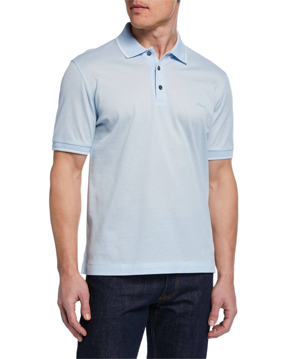 e5d93ff10cda Brioni Men s Tipped Pique Polo Shirt