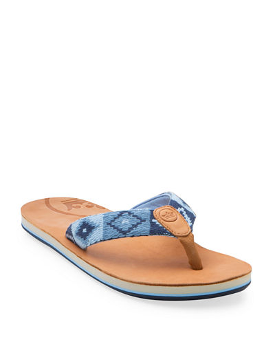 x Peter Millar Men's Leather Thong Sandals