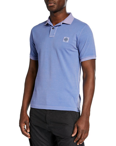Men's Garment-Washed Pique Polo Shirt
