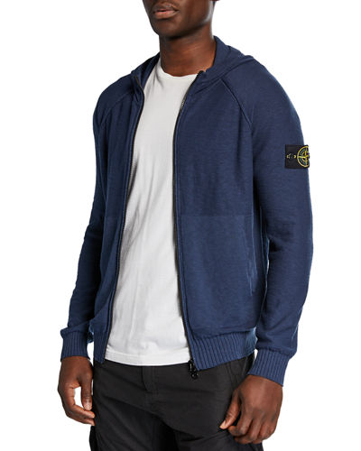 Men's Slub Heathered-Knit Zip-Front Hoodie