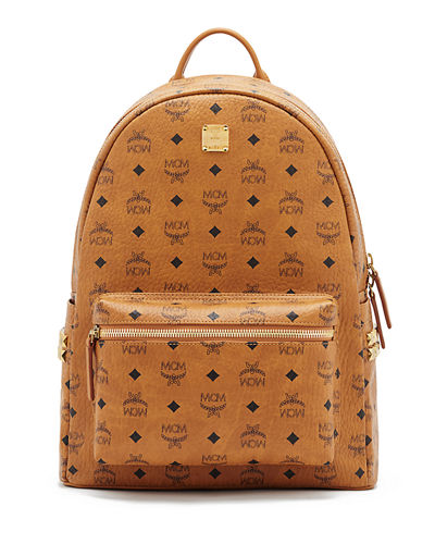 Mcm backpack brown gold yellow studs snakeskin | Shoes bags