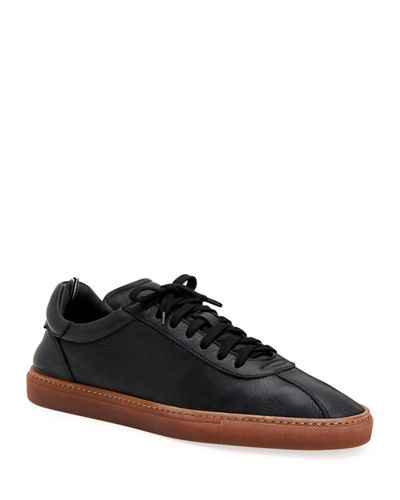 Men's Scott Tumbled Calf Leather Low-Top Sneakers