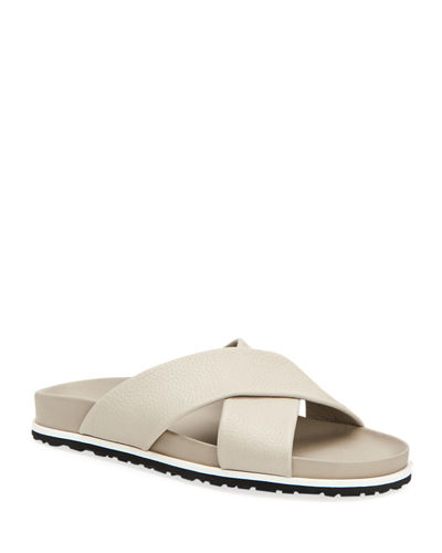 Men's Tanner Pebbled Leather Slide Sandals