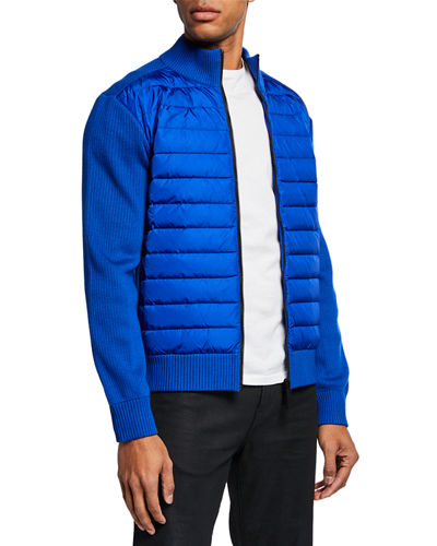 Men's Hybridge Knit-Sleeve Puffer Jacket
