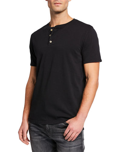 7 For All Mankind Men's Boxer 3-Button Henley Shirt