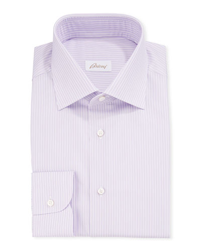 Men's Narrow-Stripe Cotton/Silk Dress Shirt