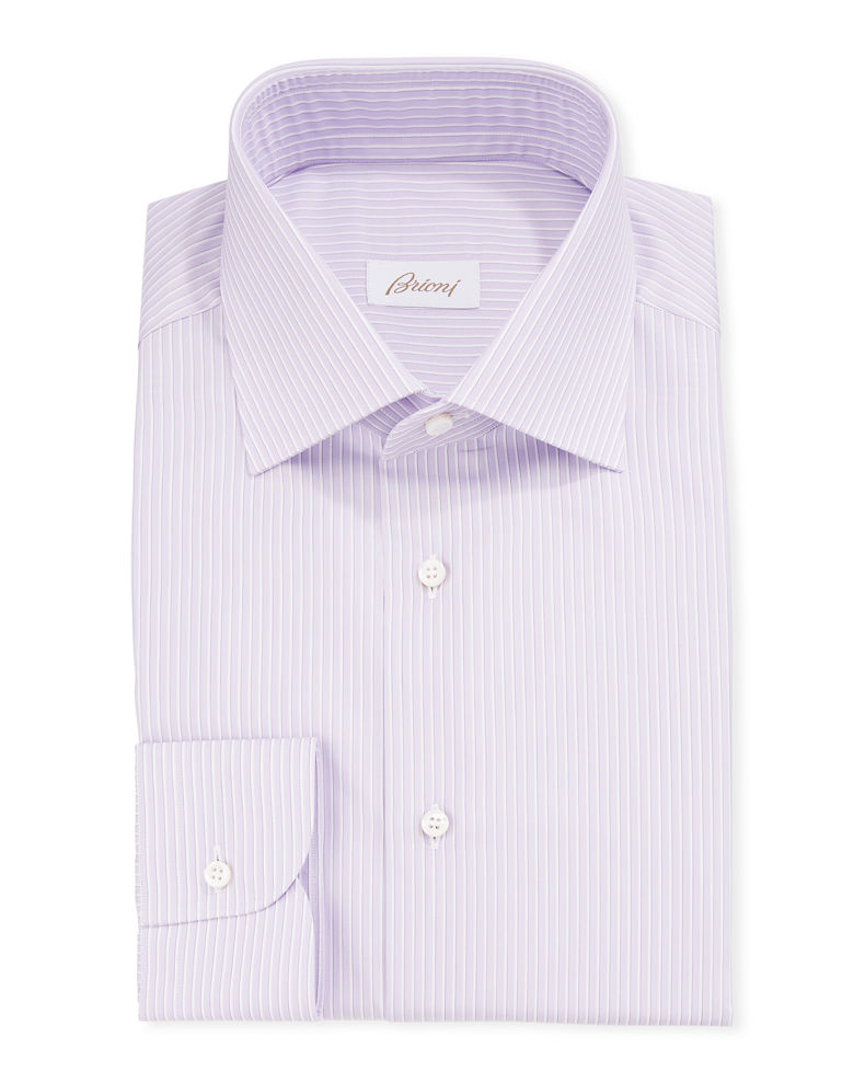 Brioni Men's Narrow-Stripe Cotton/Silk Dress Shirt