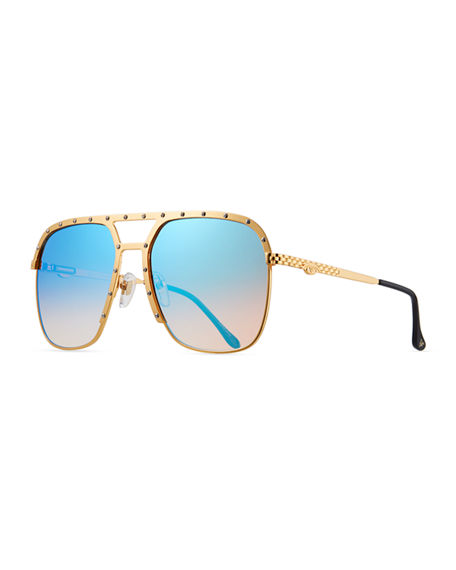 Image 1 of 3: Vintage Frames Company Men's Axel Gold-Plated Aviator Sunglasses