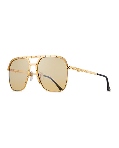 Men's Axel Gold-Plated Aviator Sunglasses