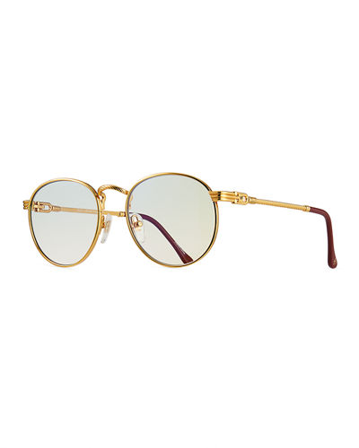 Men's Miami Gold-Plated Round Sunglasses