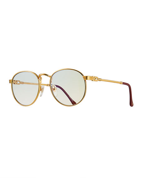 Vintage Frames Company Men's Miami Gold-Plated Round Sunglasses