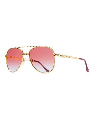 Men's Gold-Plated Aviator Sunglasses