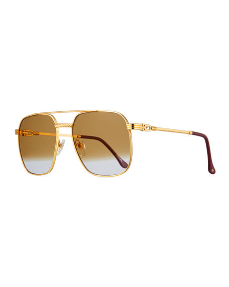 Image 1 of 3: Vintage Frames Company Men's Gold-Plated Aviator Sunglasses