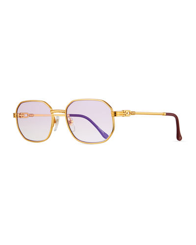 Men's Detroit Player Gold-Plated Round Sunglasses