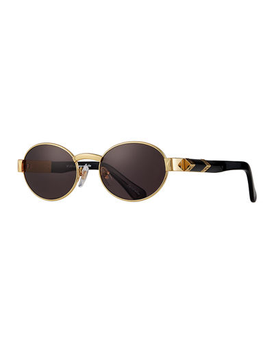 Men's The Biz Gold-Plated Oval Sunglasses