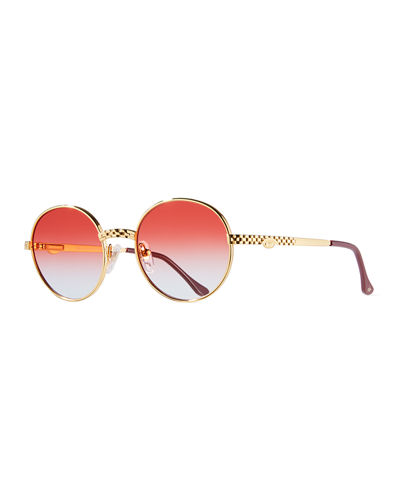 Men's Circle Masterpiece Gold-Plated Round Sunglasses