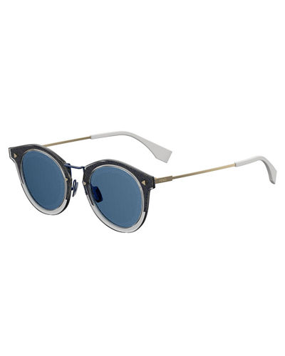 Fendi Men's Round Plastic Sunglasses