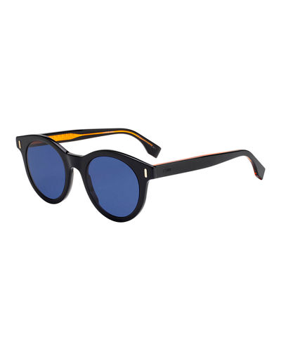 Fendi Men's Round Solid Plastic Sunglasses