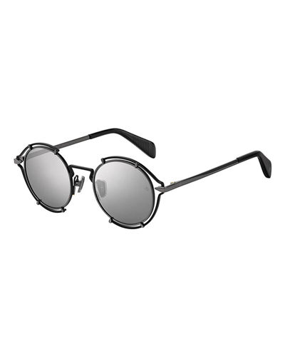 Rag & Bone Men's Round Cutout Metal Sunglasses