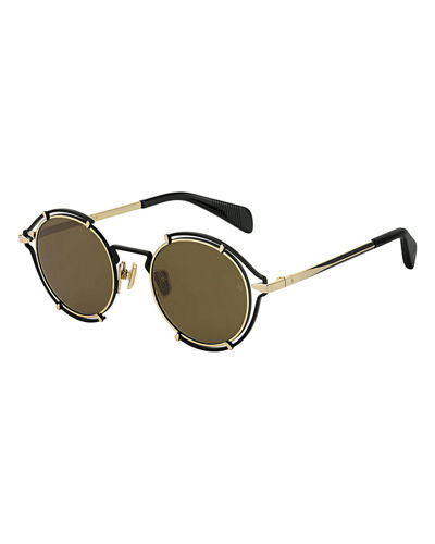 Men's Round Cutout Metal Sunglasses
