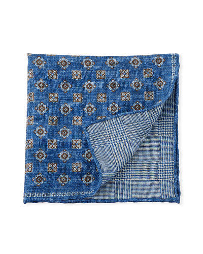 Reversible Floral/Houndstooth Pocket Square