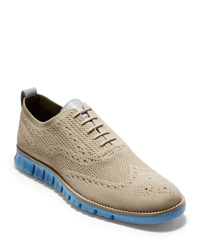 Men's ZeroGrand Knit Wing-Tip Oxfords