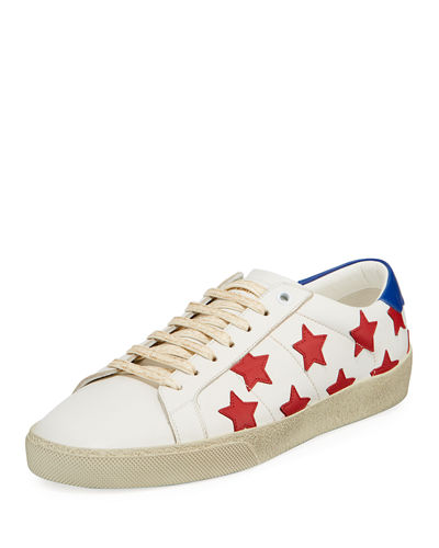 Men's Calfskin Leather Stars Low-Top Sneaker