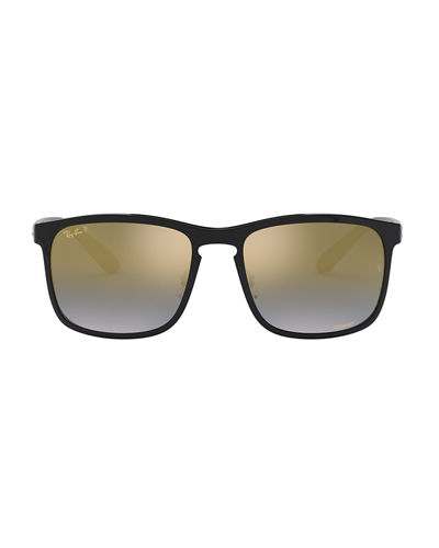 Ray-Ban Men's Chromance Mirror Polarized Gradient Square Sunglasses