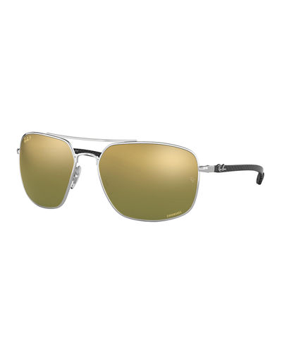 Men's Chromance Mirrored Square Metal Sunglasses