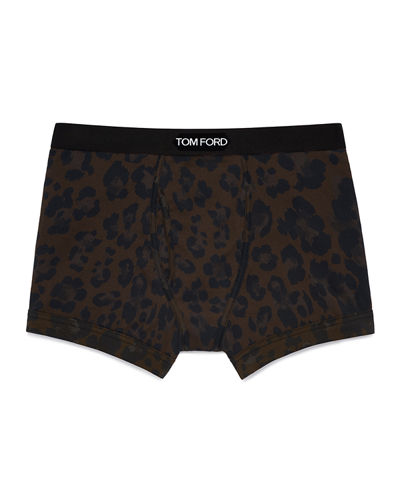 TOM FORD Men's Cotton Leopard-Print Boxer Briefs