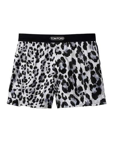 TOM FORD Men's Logo-Band Leopard Silk Boxers