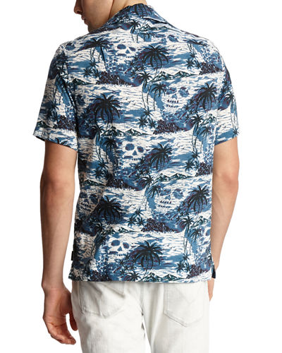 John Varvatos Star USA Men's Skip Island Skull-Print Short-Sleeve Sport Shirt