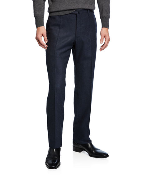 Incotex Men's Pleated Stretch Flannel Trousers