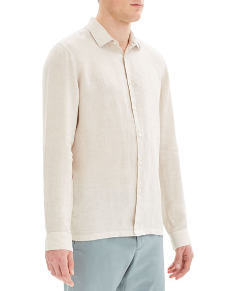 Image 2 of 3: Theory Men's Murray Summer Linen Long-Sleeve Sport Shirt