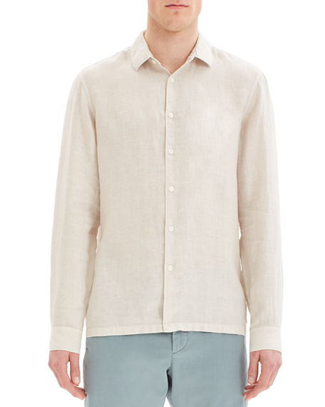 Image 1 of 3: Theory Men's Murray Summer Linen Long-Sleeve Sport Shirt