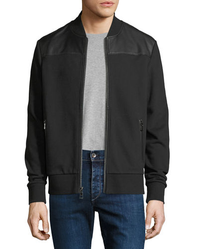0489d2983c5c Quick Look. Michael Kors · French Terry Bomber Jacket with Leather Trim