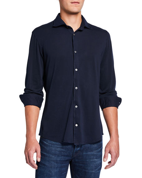 Fedeli Men's Long-Sleeve Cotton Pique Shirt