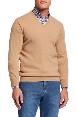 Neiman Marcus Cashmere Collection Men's Cloud Cashmere V-Neck Sweater