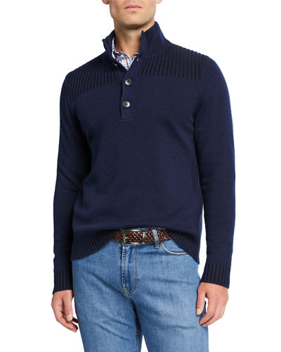 Men's Cashmere Button Sweater with Textured Shoulders