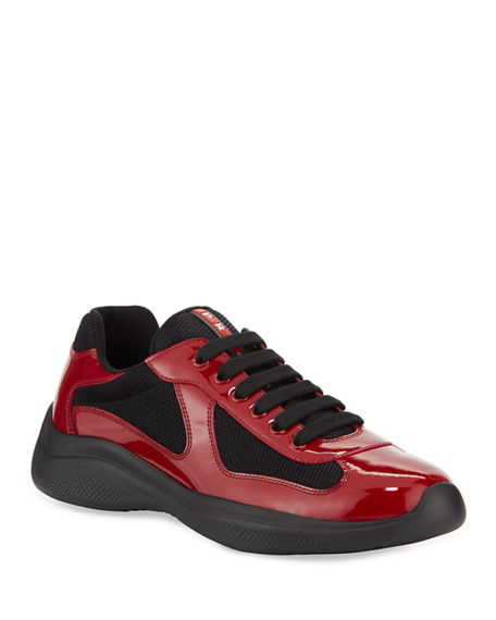 Prada Men's America's Cup Patent Leather Patchwork Sneakers